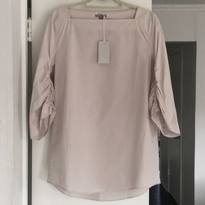 COS ruched-sleeved poplin blouse. NWT!